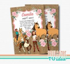 Cumple spirit cabalgando libre invitación imprimible Caballo Spirit, 2nd Birthday, Alondra, Cover, Books, Mexican Invitations, Card Designs, Wrapping, Libros