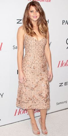 Jennifer Lawrence in embellished Valentino cocktail dress at The Hollywood Reporter's bash