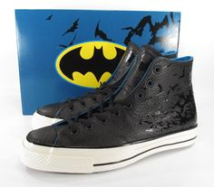 53c15e0dc39080 Converse DC Comics Batman 70 s Hi Chuck Taylor BLACK Embossed Leather RARE!  LE!