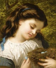 """Pre-Raphaelite Painting:  """"The Bird's Nest,"""" by Sophie Gengembre Anderson (French, 1823 - 1903). #Pre-Raphaelite."""