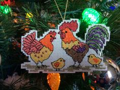 """Handmade Cross Stich Christmas Ornament-Chicken Family-Farm-Homestead-Rooster FOR SALE • $9.00 • See Photos! Money Back Guarantee. -Brand new handmade cross stitch Christmas ornament home decoration.-Family of chickens.-14 count beige Aida.-Cotton thread in orange, red, yellow, brown, green, purple and black. -Total piece measures 4""""w and 2 112291987011"""
