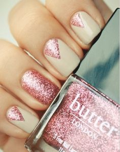 butter pink glitter over nude nail polish