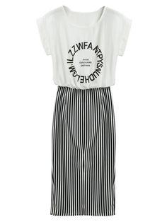 Multicolor Letter Print Striped Skirt 2 in 1 Dress