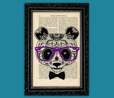 Panda Sugar Skull Print - Dia de los Muertos Poster Dorm Room Print Gift Skull Bones Print Wall Decor Poster Dictionary Retro Art