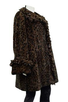 NEW REX RABBIT FUR Brown Animal Print Reversible Stroller Coat Sz L#FurStrollerCoat