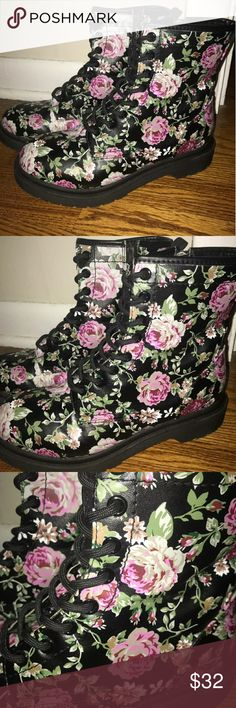 Cute black/pink floral combat boots sz.9m Only worn 5 times cute black/pink floral combat boots sz.9m they are in great condition. massimo Shoes Combat & Moto Boots