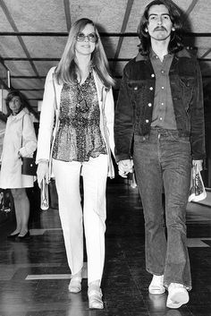 "thateventuality: "" Pattie Boyd and George Harrison departing from London's Heathrow Airport to Sardinia, 31 May 1969 (image source: Beatle Photo Blog) "" Source of my scan is the Something About Pattie..."