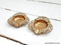 2 Vtg brass ASHTRAYS pair small collectible vintage ashtray brass India paperweight decorative small ashtrays vtg metal N10/888