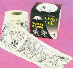Over The Hill Toilet Paper by Magique by Magique. $6.95. 0. Novelty, gag gift toilet paper. Can actually be used or just display with box. Printed with Over The Hill graphics. Features an assortment of comic strips. Exclusive two-ply laughs and smiles come with this printed toilet paper. Classic comics printed on both the paper and box.
