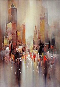 Contemporary Abstract Painting: City Outline Oil Painting 812 Inch / 2029 Cm printed On High Quality Polyster Canvas this Reproductions Art Decorative Prints On Canvas Is Perfectly Suitalbe For Basement Decor And Home Decor And Gifts Abstract Canvas Art, Oil Painting Abstract, Canvas Wall Art, Abstract City, Canvas Prints, Oil Painting For Beginners, Oil Painting Techniques, Orange Painting, Cityscape Art