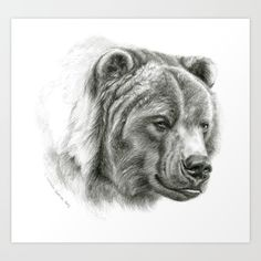 Brown Bear G2012-054 Art Print by S-Schukina. Worldwide shipping available at Society6.com. Just one of millions of high quality products available.