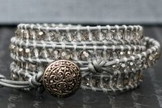 wrap bracelet- silver smoke crystal on silver leather- beaded leather 4 wrap bracelet on Etsy, $45.00