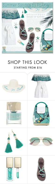 """""""PLAKA SANDALS"""" by aa21 ❤ liked on Polyvore featuring New Directions, Mara Hoffman, Smith & Cult, Dune, Gucci and Clarins"""
