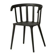 IKEA PS 2012 black, Chair with armrests. You sit comfortably thanks to the armrests. You sit comfortably thanks to the shaped back. Chaise Ikea, Ikea Armchair, Upholstered Chairs, Black Armchair, Room Chairs, Table And Chairs, Deck Chairs, Kitchen Chairs, Ikea Ps 2012
