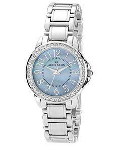 Anne Klein Watch, Women's Silver Tone Bracelet 32mm 10-9661GMSV - All Watches - Jewelry & Watches - Macy's