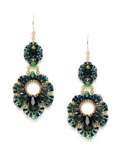 Green Tourmaline & Multicolor Bead Geometric Shape Earrings by Miguel Ases at Gilt