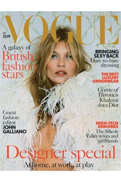 December 2013 Kate Moss in a feather cape with pearl-encrusted collar by Alexander McQueen. (Photo by Tim Walker)