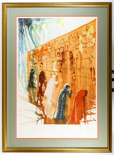 "Lot 242: Salvador Dali (Spanish, 1904-1989) ""Wailing Wall"" Lithograph; Undated, pencil signed lower right, numbered 122/250, depicting figures at the Wailing Wall; attached COA from Austin Galleries"