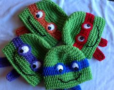 ninja turtle crochet hats | FREE SHIPPING - Crochet Teenage Mutant Ninja Turtles Hat - Green, with ...