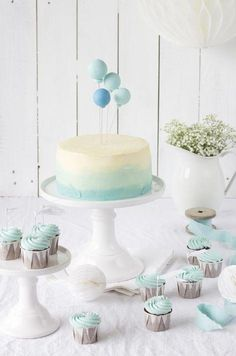 Baby Shower Boy Cake Ideas Boy Baby Shower Cakes Simple Cake With Blue And Doubl… – Toptrendpin #balooncake