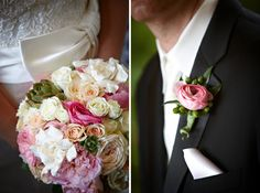 White and pink wedding bouquet and boutonniere.  www.mikiandsonja.com