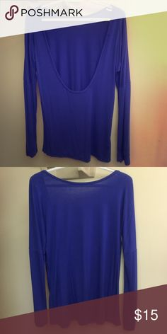 Long sleeve blue shirt with open back Super cute long sleeve shirt with open back. Never worn! ROMWE Tops Tees - Long Sleeve