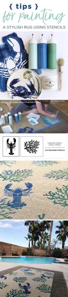 Cutting Edge Stencils shares a DIY Ikea rug makeover using Nautical Stencils including the lobster and coral pattern. http://www.cuttingedgestencils.com/beach-decor-stencils-designs-nautical.html