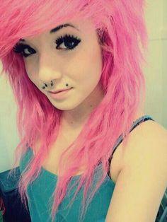 Pink scene hair