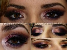 GORGEOUS EYE LOOK! using a dark brown in the crease, grape pigment (mac) in the outer v and rose pigment (mac) on the lid.