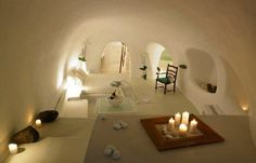When I say I will go love in a cave one day, I think this is what I have in mind. Greek Island Cave Home.