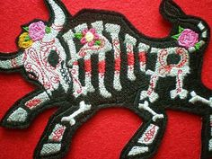 Large Embroidered Toro Muerto Applique Patch, The Skeleton of a Bull, Day of the Dead, Dia de los Muertos, Iron-On Patch, Hispanic on Etsy, $12.50