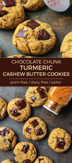 Chocolate Chunk Turmeric Cashew Butter Cookies! Soft and chewy, these cookies just melt in your mouth.