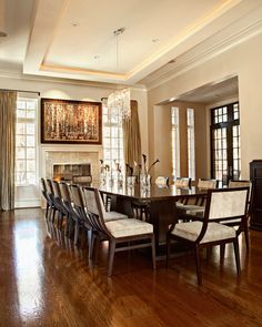Transitional Dining Room With A Wooden Dining Table