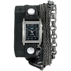 La Mer Collections Women's LMMULTI7000 Carerra Stainless Steel Watch... ($148) ❤ liked on Polyvore featuring jewelry, watches, square watches, leather wrap watches, leather wrap around watches, black face watches and wrap watches