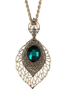 Natasha Accessories | Long Leaf Pendant Necklace | Nordstrom Rack