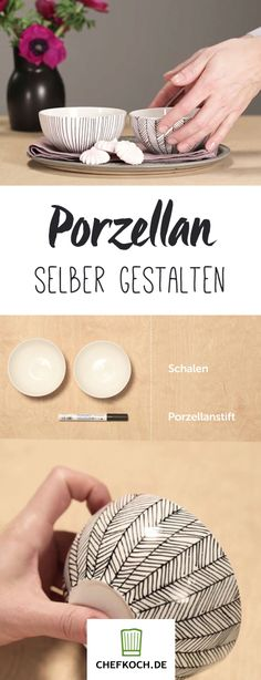 DIY: painting porcelain How to make your dishes a real … – DIY: paint porcelain How your dishes become truly unique. – - DIY: painting porcelain How to make your dishes a real . Pottery Painting Designs, Pottery Designs, Pottery Art, Ceramic Painting, Diy Painting, Ceramic Art, Diy On A Budget, Decorating On A Budget, Diy Kitchen Projects