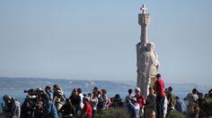 Visitors at the Cabrillo statue at Cabrillo