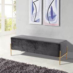 Meridian Isla Gray  Velvet Contemporary Bench W/ Gold Legs