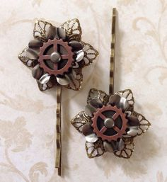 Steampunk inspired hair Accessories  set of 2 metal by jayedesigns, $14.00