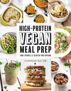 This high-protein vegan meal prep for two menu is delicious! 5 days of breakfast, lunch, dinner, and snacks, for 2 people plus shopping list & prep print outs. High Protein Meal Prep, High Protein Vegan Recipes, Protein Lunch, Vegan Dinner Recipes, Raw Food Recipes, High Protein Vegetarian Meals, High Protein Vegetarian Breakfast, Best Vegan Protein, Raw Protein