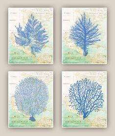Set of 4 Ocean  Blue  prints, Sea fan, sea grass, coral, nautical Prints, bathroom wall decor,  map gulf of Mexico auf Etsy, 35,94 €