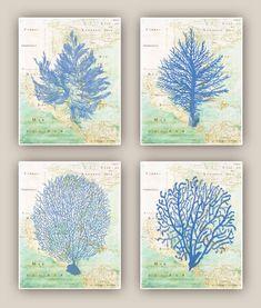 Set of 4 Ocean  Blue  prints, Sea fan, sea grass, coral, nautical Prints, bathroom wall decor,  map gulf of Mexico auf Etsy, 35,94€