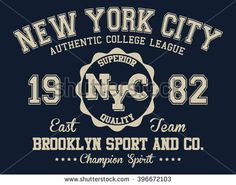 NYC varsity sport, Authentic college league vector print and varsity. For t-shirt or other uses in vector.T shirt graphic