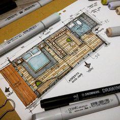 New House Projects Architecture Drawing 38 Ideas Interior Design Renderings, Interior Rendering, Interior Sketch, Architecture Sketchbook, Concept Architecture, Architecture Design, Resort Interior, Sketch Design, Portfolio Design