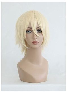 Cosplay Wig Short Blonde Halloween Party Full Hair Heat Resistant Synthetic Wigs ** Find out more about the great product at the image link.