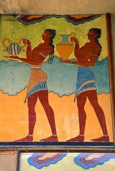 The Stream of Time: The Minoans: Fashion Painting of two male servants at Knossos