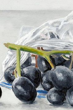 Baggie of grapes Original Oil painting 5 x 7 by CamilleBarnes