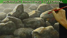 Acrylic Painting Tutorial on How to Paint Basic Rocks on Sunlight Easy f...