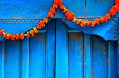 In our Nepali culture the marigold flower is very significant. They are used as decoration for weddings, festivals and religious events. We also use them to welcome people at the door like on this photo or we give it to our guests as a necklace.  • • • Read more about Nepal and our culture on www.bymountainpeople.com • • • #namaste #welcome #Nepal #Marigold #flower #door #travelNepal #visitNepal #blue #turquoise #orange #contrast #colored #flowers #coloured #travel #ancient #history…