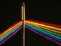Rainbow thread and golden needle
